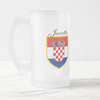 Croatia Flag Personalized Frosted Glass Beer Mug