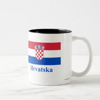 Croatia Flag with Name in Croatian Two-Tone Mug