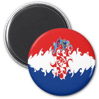 Croatia Gnarly Flag 6 Cm Round Magnet