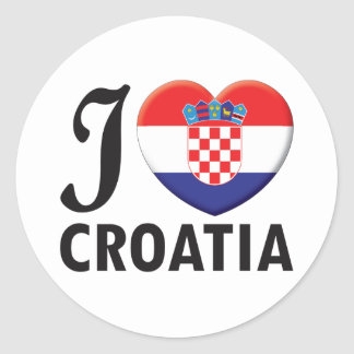 Croatia Love Classic Round Sticker