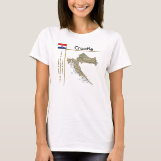 Croatia Map + Flag + Title T-Shirt