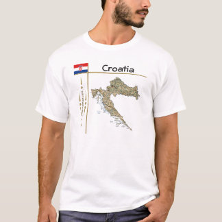 Croatia Map + Flag + Title T-Shirt