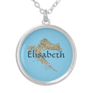 Croatia Map + Name Necklace