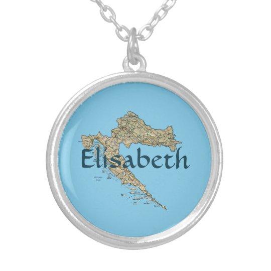 Croatia Map + Name Necklace