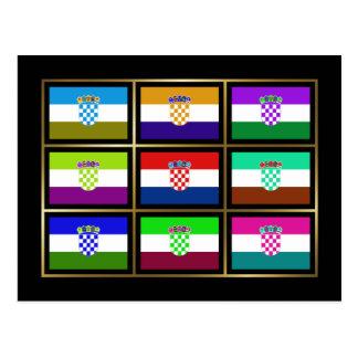 Croatia Multihue Flags Postcard