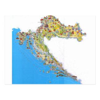 Croatia touristic map, hrvatska turistička mapa postcard