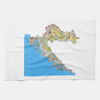 Croatia touristic map, hrvatska turistička mapa tea towel