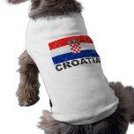 Croatia Vintage Flag Doggie Tshirt