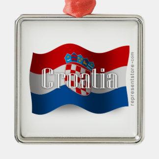 Croatia Waving Flag Silver-Colored Square Decoration