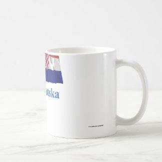 Croatia Waving Flag with Name in Croatian Basic White Mug