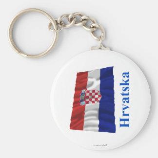 Croatia Waving Flag with Name in Croatian Key Ring