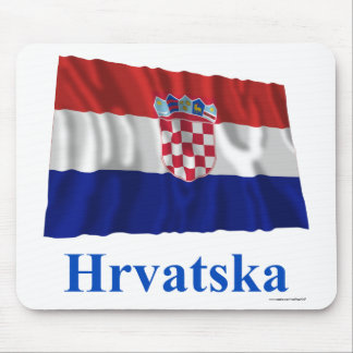 Croatia Waving Flag with Name in Croatian Mouse Mat