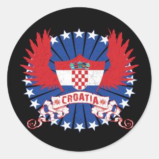 Croatia Winged Classic Round Sticker