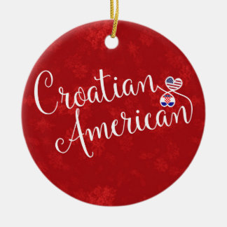 Croatian American Hearts Christmas Tree Ornament