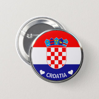 Croatian Coat of Arms | Hrvatski grb w/Text 6 Cm Round Badge