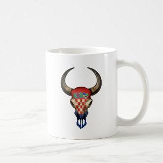 Croatian Flag Bull Skull Basic White Mug