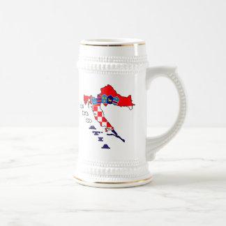 Croatian Flag in Map Beer Steins