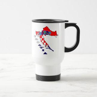 Croatian Flag in Map Stainless Steel Travel Mug