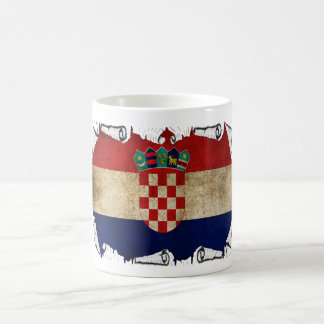 croatian flag ripped basic white mug