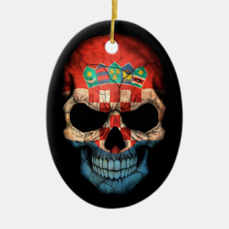 Croatian Flag Skull on Black Christmas Ornament