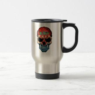 Croatian Flag Skull on Black Stainless Steel Travel Mug