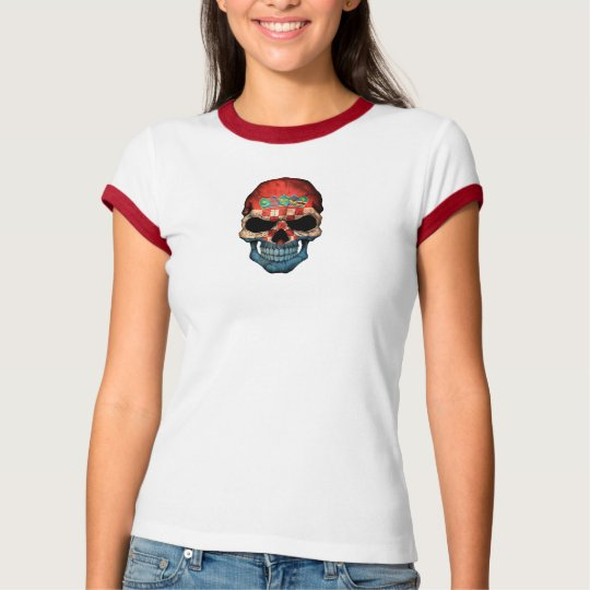 Croatian Flag Skull on Black T-Shirt