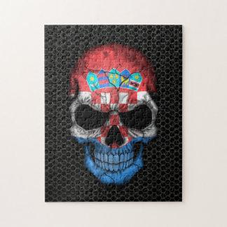 Croatian Flag Skull on Steel Mesh Graphic Jigsaw Puzzle