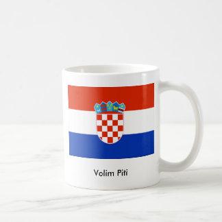 Croatian flag, Volim Piti Basic White Mug