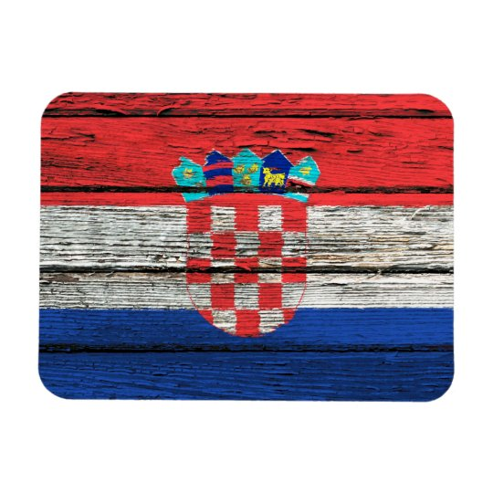 Croatian Flag with Rough Wood Grain Effect Magnet
