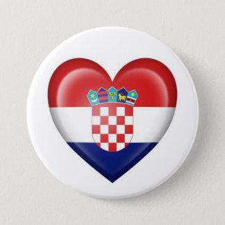 Croatian Heart Flag on White 7.5 Cm Round Badge
