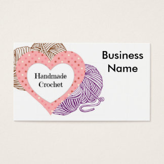 Crochet biz Card with yarns and Heart Shaped logo