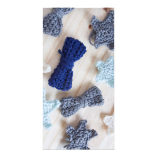 Crochet Bows and Stars Personalized Photo Card