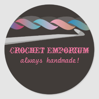 crochet crafting fashion toys gift package labe... round sticker