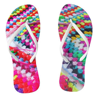 Crochet Granny Square Rainbow Flip Flops Crocheted