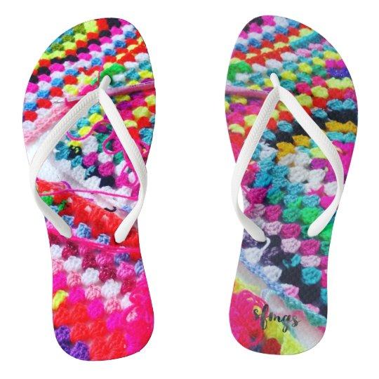 Crochet Granny Square Rainbow Flip Flops Crocheted