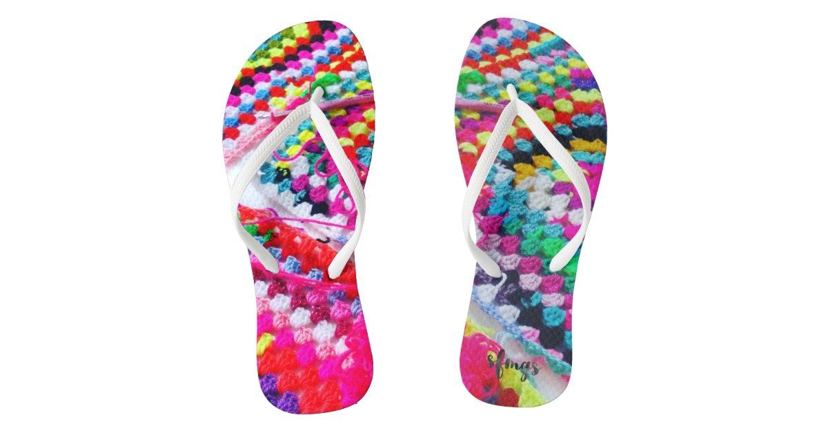4f62c79f5e120c Crochet Granny Square Rainbow Flip Flops Crocheted