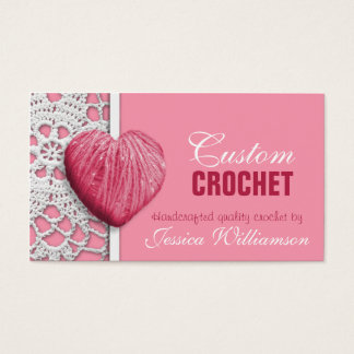 Crochet - Heart Shaped Yarn Pink Business Cards