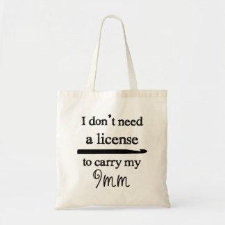 Crochet Hook License {Light} Budget Tote Bag