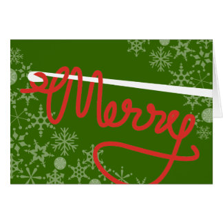 Crochet hook Merry Christmas yarn gift card