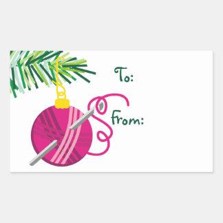 crochet hook yarn ball Christmas holiday label Rectangle Stickers