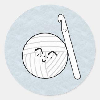 Crochet Hook & Yarn Cartoon ♥ Crafts Round Sticker