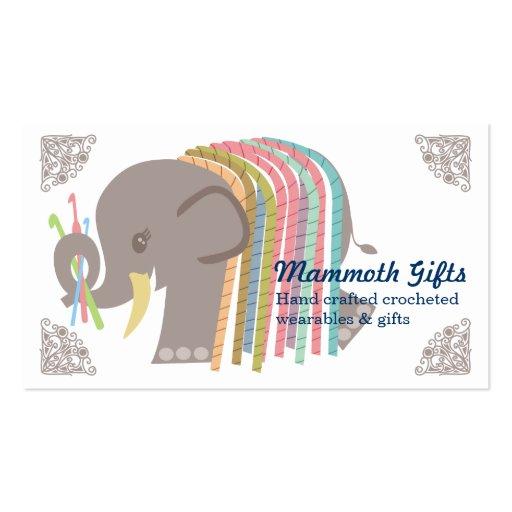 Crochet hooks yarn elephant woolly mammoth card business card