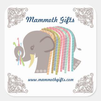 Crochet hooks yarn elephant woolly mammoth label square sticker