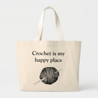 Crochet is my happy place - personalised large tote bag