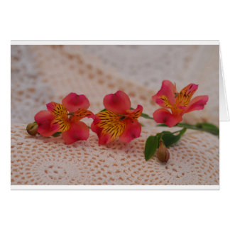 Crochet & Lace & Alstroemeria Flowers Card