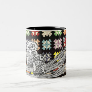 Crochet Owls Two-Tone Mug