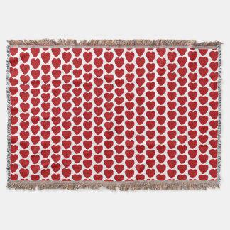 Crochet Red Handmade Yarn Heart Craft Room Throw Blanket