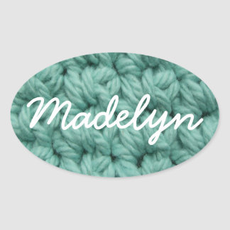 Crochet Stitches in Blue Oval Sticker