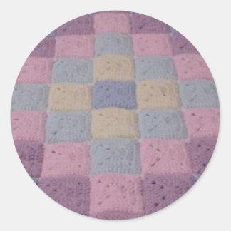 Crochet stitches Trip Around the World Classic Round Sticker