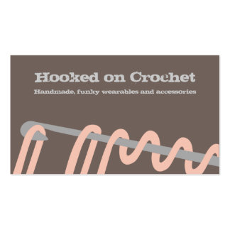 crochet stitching crafts brown pink business cards